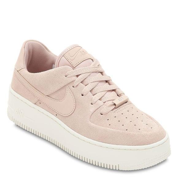 Light pink suede Nike air force platform sneakers